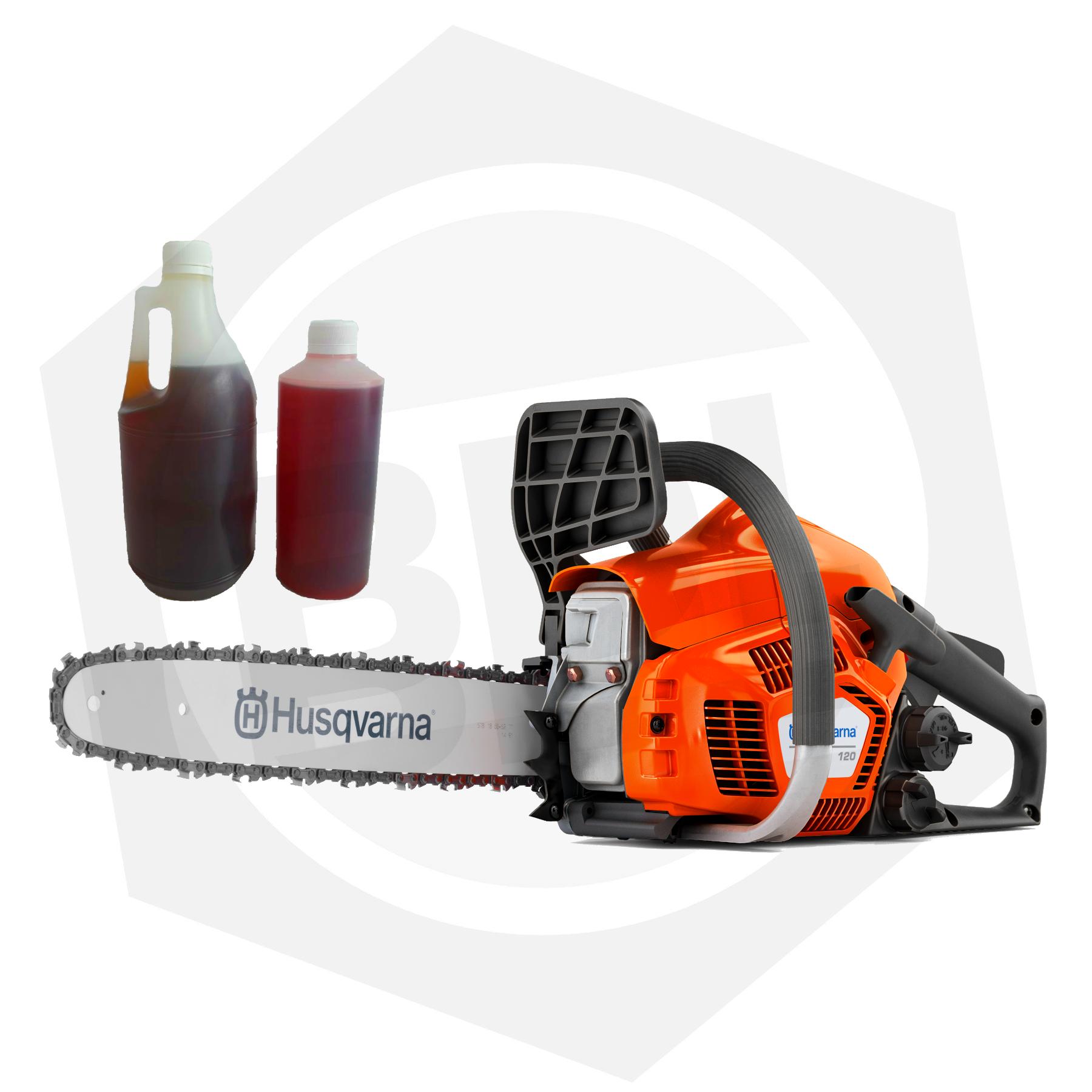 """Motosierra Husqvarna 120 - 35 cc / 14"""" + 1 L de Aceite Cadena + 1/2 L Aceite 2 Tiempos"""